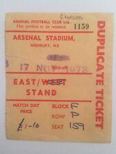 Ticket : Arsenal V. Chelsea 7/11/1973