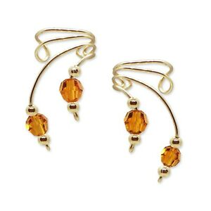 Ear Wraps Cuffs Climbers Crawler Earring Gold with Swarovski Topaz Crystals #160