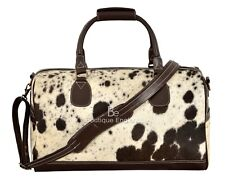 New Men's Large Real COW Fur Brown Real Cow Hide Leather Weekend Holdall Bag