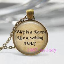 Raven writing desk Cabochon Glass Necklace charm vintage Bronze pendants
