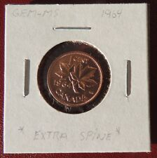 "1 Cent Penny Copper Coin Canada  ""Extra Spine"" Elizabeth II rare MS 1964   cc090"