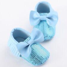 NEW Baby Girls Blue Sequin Bow Tassel Fringe Moccasin Crib Shoes Size 3