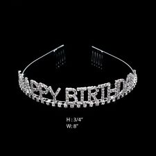 New Silver Color Happy Birthday Tiara Headband Girl's Headwear Birthday Party