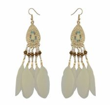 Fashion Earring Boho Festival Tribal Dream Catcher Feather Ivory Nude Tassel