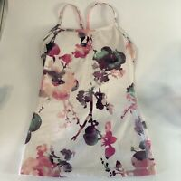 Lululemon 2 In 1 Sports Bra With Attached Tank Top Women's Gray Floral Size 2