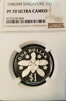 1986 SINGAPORE SILVER $1 PERIWINKLE FLOWER NGC PF 70 ULTRA CAMEO PERFECTION