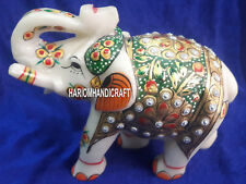 Indian Marble Exclusive Good Luck Elephant Statue Hand Painted Decoration H4199