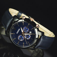 Fossil Men's Chrono Navy Dial Rosegold Subdials Navy Leather Band Watch BQ2007