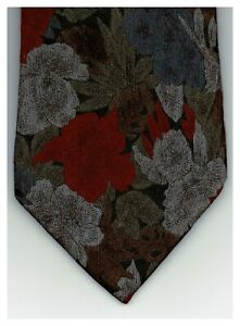Camden Court Mens Tie Floral Red Gray Blue 58 x 3.5 Made In USA New 160 Ties