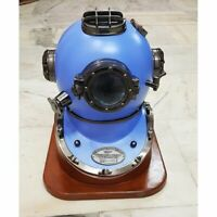 Blue Hand Crafted with Black Chrome Scuba Morse Boston Brass Diving Helmet US Na