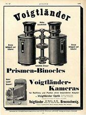 Voigtländer & Sohn Braunschweig Prismen-Binocles Kameras Histor.XXL-Annonce 1906