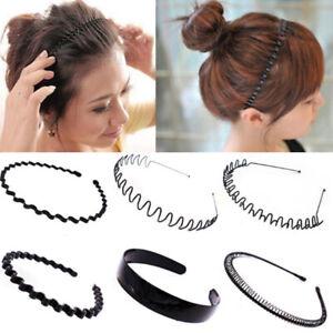 Men's Women Black Sports Wave Hair Band Metal/Plastic Hairband Headband Headwear