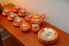 BEAUTIFUL 21 PIECE R.W. RUDOLF WACHTER TEA SET, IRIDESCENT ORANGE & GOLD,1924