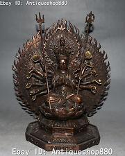 Bronze 18 Hands Kwan-yin Guan Quan Yin Guanyin Maha Cundi Mother Buddha Statue