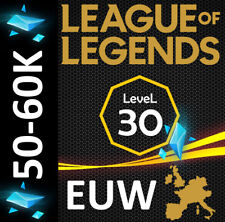 League of Legends Account EUW 40 - 50K BE LoL Smurf Lvl 30+ UNRANKED