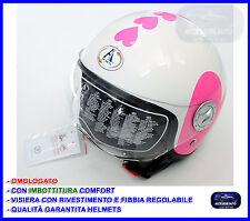 Casco Donna Jet Taglia S M L per Scooter Moto Quad Vespa Omologato con Visiera