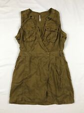 Free People Size Medium Khaki Brown Military A Line Dress Metal Buttons