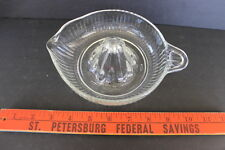 Vintage Clear Glass Citrus Fruit Juice Reamer Ribbed Sides Thumbprint Handle