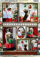A4 DIE CUT FOILED CARD TOPPER SHEET CHRISTMAS SELECTION CDT570G GOLD EDGED