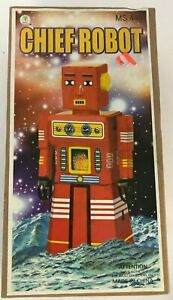"""Schylling Chief Robot Tin Wind-Up with Key & Original Box MS 445 8"""" Tall"""