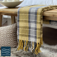 Luxury Pure ECO Cotton Ochre Yellow / Grey Tartan checked Large Sofa Bed Throw