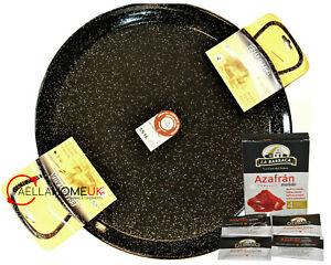 50cm Enamelled Paella Pan , Original Enamelled Steel Pan + SAFFRON PAELLA GIFT