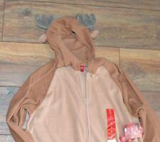 ADULT ONE PIECE PJ's Fleece Jammies for Families Mens Small Reindeer Pajamas