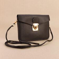 Black Faux Leather Passport Bag Clutch Purse Small Gold Buckle Detachable Strap
