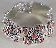RED CORAL & .925 Sterling Silver BRACELET Jewelry 57.9g