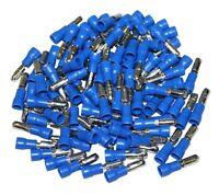 LOT DE 100 COSSES ELECTRIQUES ISOLEES A SERTIR 4MM RONDES MALES BLEUES  -  C1308