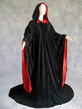 Velvet Robe Black Red Wizard Cloak Goth Vampire Game of Thrones Volturi Cosplay