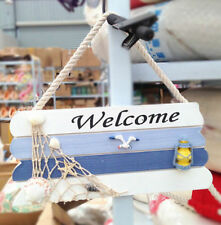 Fd4603 □ Welcome Nautical Beach Wooden Sign Plaque Home Shop Wall Door Hanging