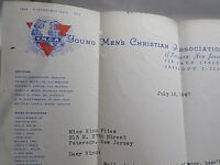 Letter YMCA Paterson NJ in 1947 to Nino Pitea Signed Autograph by Walter Lindell