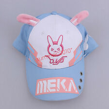 Overwatch DVA D.va Baseball Hats Cosplay Pink Rabbit Ear cap