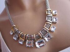 STRASS Collier Damen Hals Kette Reif Modekette kurz Silber Gold Statement St3390