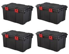 Large Tote Storage Box Portable Container Chest Organizer Stackable 4 Pack New