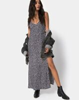 MOTEL ROCKS Hime Maxi Dress in Ditsy Rose Black  Size 2XS   (mr78)