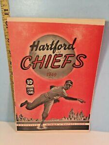 1949 Hartford Chiefs Eastern League Baseball Program vs Utica Unscored