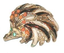 New listing Vintage Hedgehog Echidna Spiny Anteater Pin Brooch Rhinestone Eyes Coral Beads