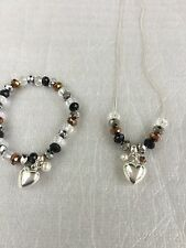 Silver Black Clear Bronze Beads Heart Pendant Necklace With Matching Stretch Bra