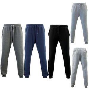 NEW Men's Skinny Track Pants Fleece Lined Slim Cuff Trackies Slacks Tracksuit