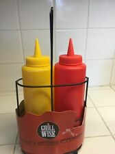 Grill Wise Catsup And Mustard Dispensers In Metal Rack.