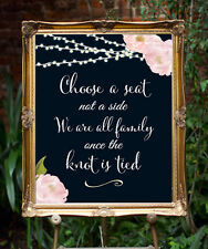 ~ Chalkboard  ~ Choose a Seat   Wedding Sign  11 x 14 - Rustic/Chic.