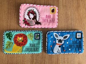 SALE Gisela Graham flower girl, dogs, jungle tooth fairy envelope purse 16cm