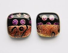 Genuine Dichroic Glass Hand Crafted Cufflinks - Pattern #6