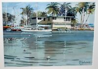 "1980 US Hawaii Watercolor Painting ""Honolulu Harbor w. Boats"" by P. Jerome (Rad)"