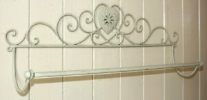 Shabby Chic Cream Heart Wall Hanging Towel Rail Antique look