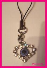 Blaues Auge NAZAR mit Strass Handyanhänger Schlüsselanhänger NEU  (c824)