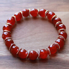 Semi-Precious Faceted Orange Carnelian Natural Stone Bracelet