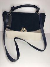 Zara Leather Split Suede Front Flap Contrasting City Bag